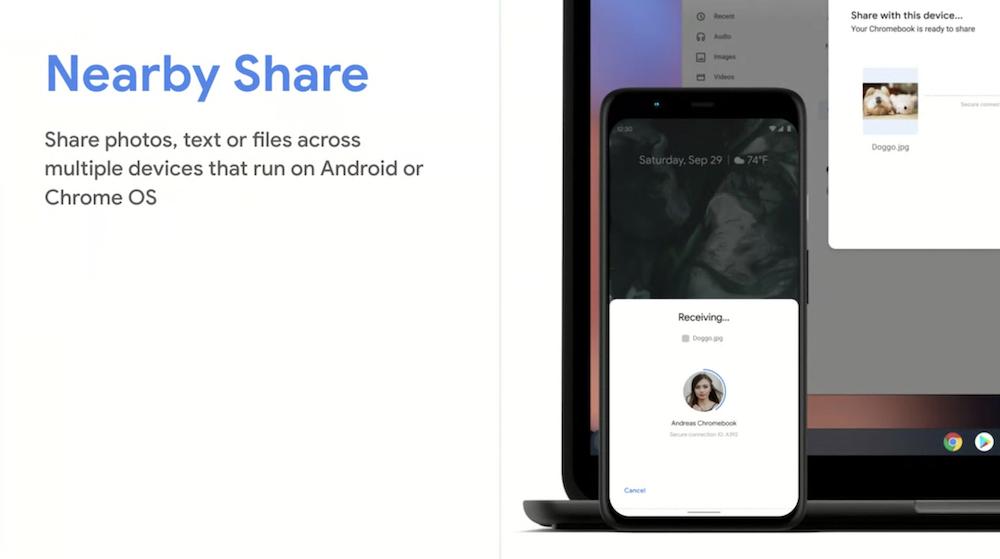 近くにあるデバイスにデータを転送できる「Nearby Share」