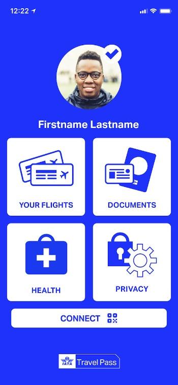 国際航空運送協会(IATA)が開発中の「IATAトラベルパス」の画面イメージ