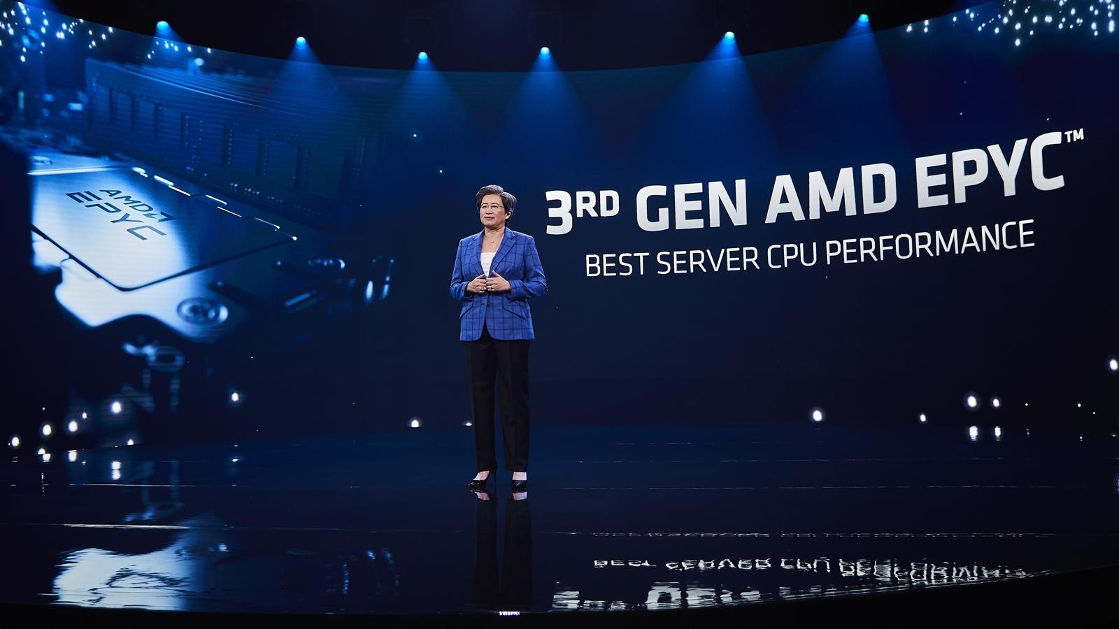 第3世代EPYCプロセッサー「EPYC 7003シリーズ」を発表するCEOのLisa Su氏 (出所:AMD)