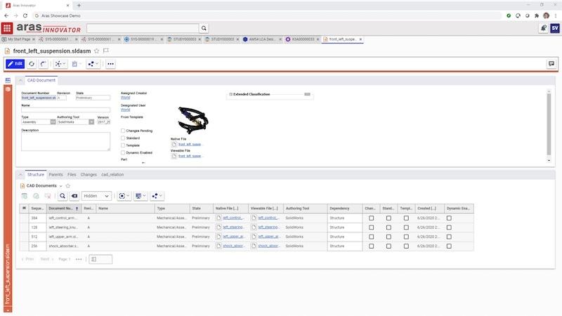 図2:「CADモデルへのリンク」のイメージ デジタルスレッドにより、解析結果を追跡できる。(出所:Aras)