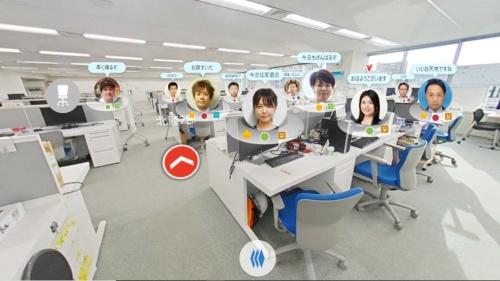 仮想オフィスである「360度パノラマビュー」の画面イメージ