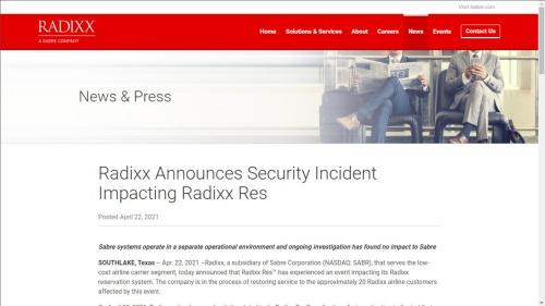 ラディックスの声明文。Radixx Resのシステム障害の原因はマルウエア感染であると明らかにした