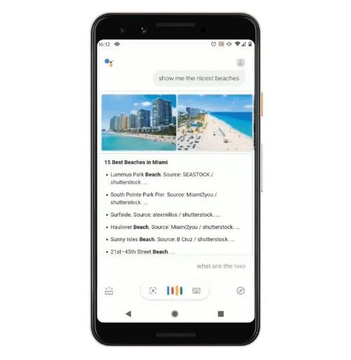 Googleアシスタントにマイアミの天気を質問してから、「一番きれいなビーチを教えて」と話しかけると、マイアミのビーチの中で、美しいと思われる場所をスマホに提示する。