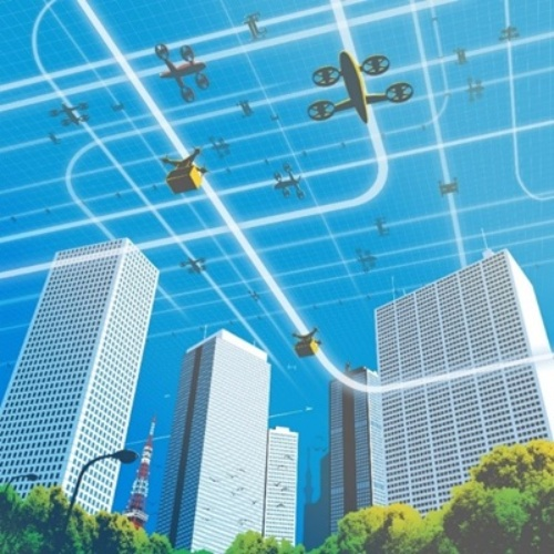 多数のドローンが都市部を移動するイメージ