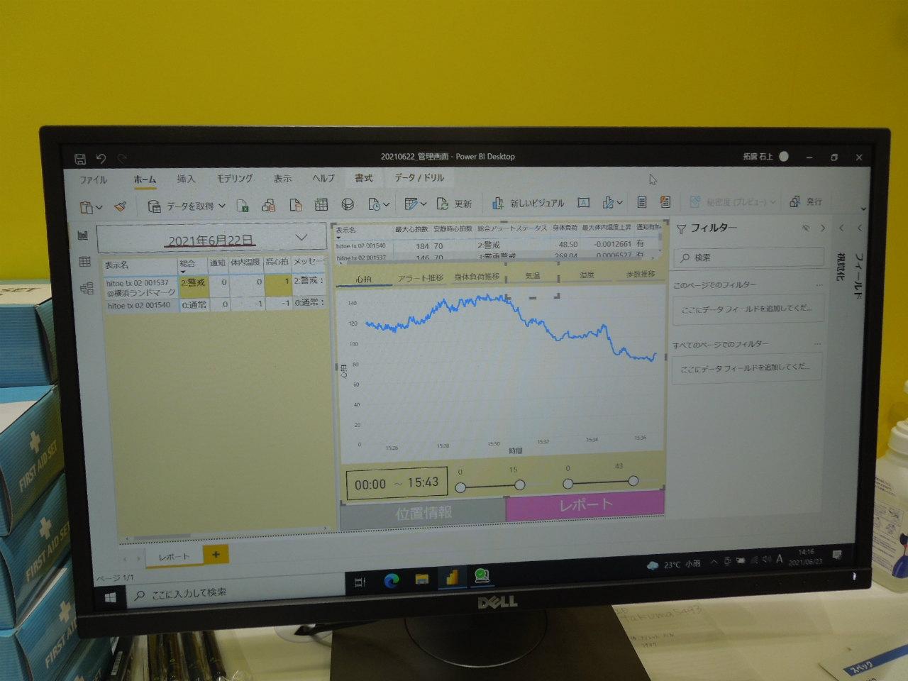 作業者の体調を遠隔から一括で管理する画面 (写真:日経クロステック)
