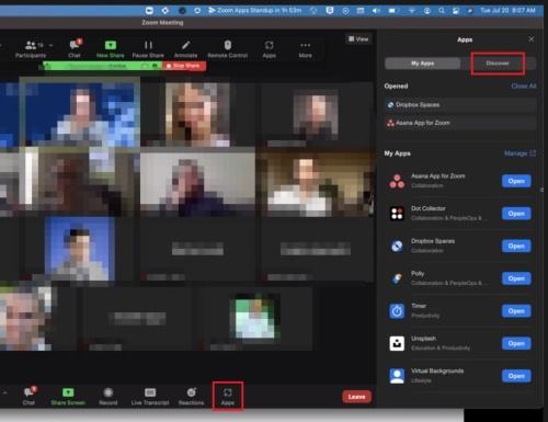 Zoom Appsの表示があるZoom画面例。右側に現れるウインドウからAppsを利用できるようになる。Zoom画面の下のバーにある「Apps」アイコンを選択すると表示される(赤枠は編集部によるもの)