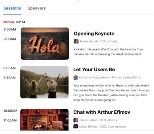 イベント内の複数セッションを時系列で表示する画面例。セッションごとに設定・管理したり、利用者からの参加を受け付けたりできる