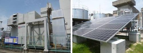 図1 明石工場内のガスタービン「M1A-17D」(左)と太陽光パネル(右)