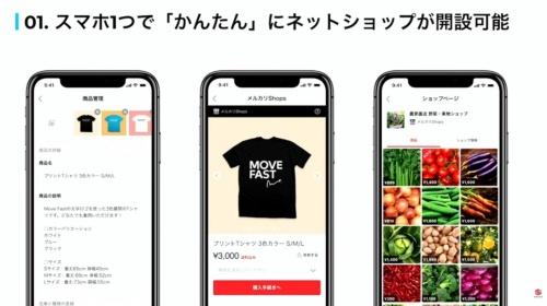 「メルカリShops」の画面例
