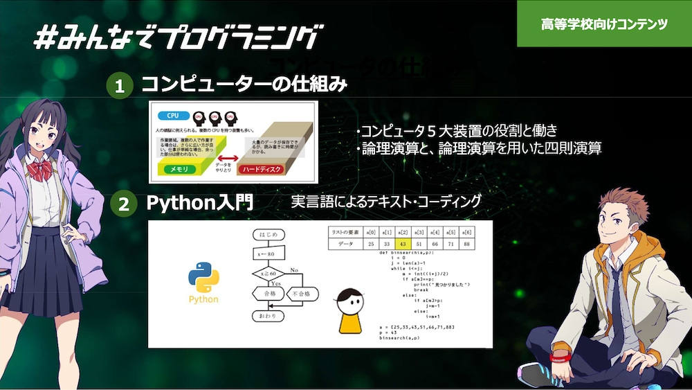 高校生向け教材の概要。Pythonのプログラミングを学べる (出所:レノボ・ジャパン)