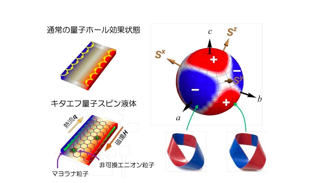 実験の概要(左)と量子計算に使える可能性がある粒子のトポロジー状態の概念 出所:京都大学、科学技術振興機構、東京大学、東京工業大学、横浜国立大学、岡山大学、独ケルン大学