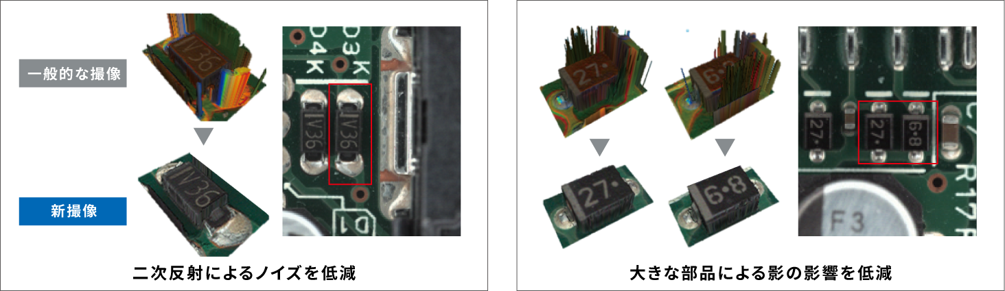 MDMCにより、はんだの形状を正確に抽出できる 従来は二次反射や部品の影で、撮像の正確性が損なわれていた。(出所:オムロン)