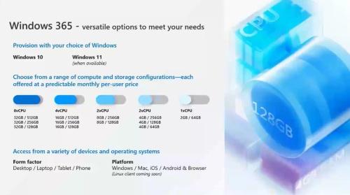 2021年8月2日に提供を開始した「Windows 365」で選択できるオプション。組み合わせに応じて1ユーザーあたりの月額料金が決まる仕様だ