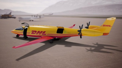 DHLの電動貨物機のイメージ