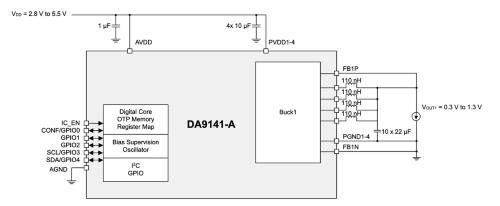 最大40A出力品の内部ブロック図と応用回路例