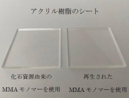 図1 化石資源由来のMMAモノマーを使用したアクリル樹脂(左)と再生MMAモノマーを使用したアクリル樹脂(右)の比較
