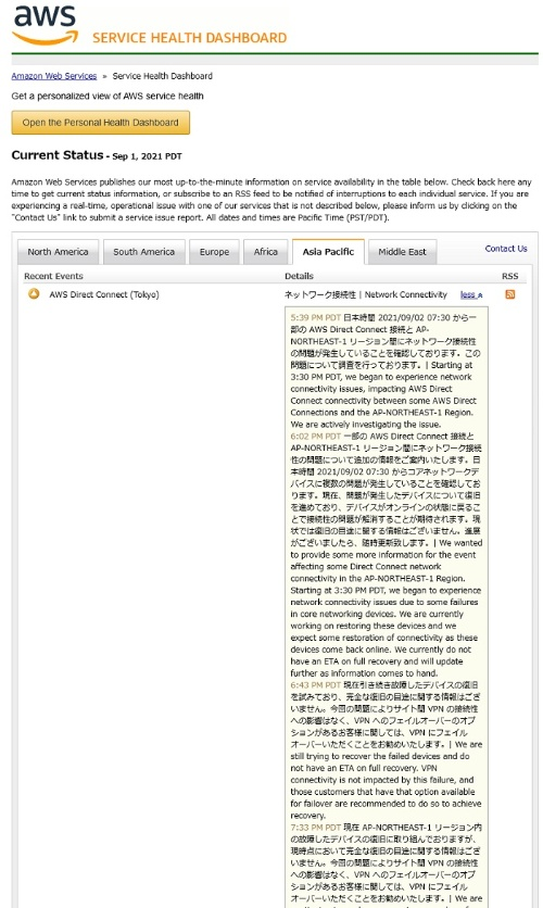AWSの運用状況を示すWebページの説明