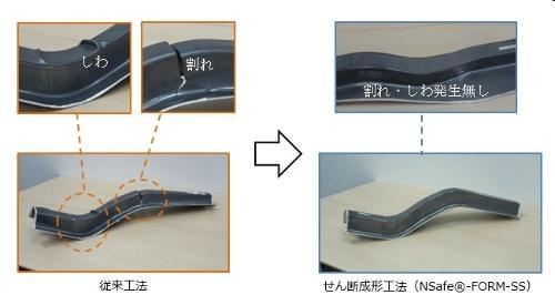 ハイテン材を使ったせん断成形工法による成形サンプル(右)