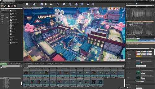 クリエーターによるゲームの開発画面。PCやスマートフォンなど、さまざまなハードによる展開を前提に開発が行われている